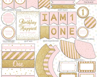 Pink and gold first Birthday decorations (INSTANT DOWNLOAD) - Printable Birthday party -Printable party package-First Birthday package BI001