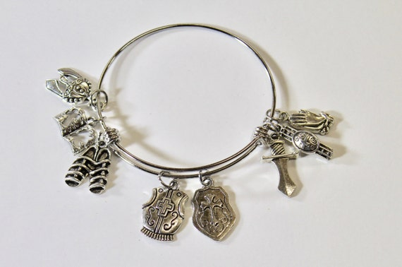Full Armor of God Expanding Bangle Charm Bracelet, Gift For Her, Teen Gift, Christian Jewelry Gift, Bible Verse Jewelry, Scripture Gift
