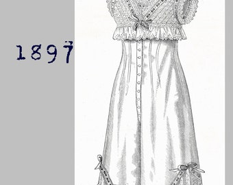 Combinations with embroidered yoke  - Victorian Reproduction PDF Pattern - 1890's -  made from original 1897La Mode Illustree  pattern