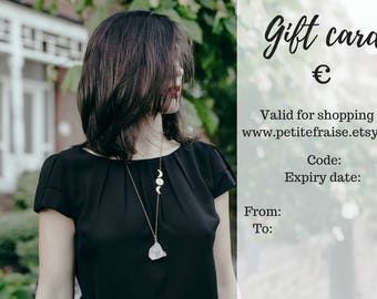 Gift card for PetiteFraise Jewelry shop, PDF printable gift certificate, last minute gift idea for her, gift voucher