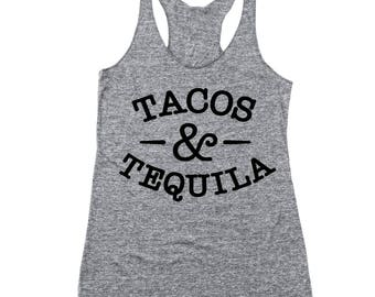 Tacos And Tequila Funny Drinking Humor Cute Party Racer Back Tri-Blend Tank Top DT1810