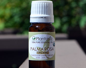 Palmarosa Certified Organic Essential Oil 100% Pure Natural Therapeutic Grade from India by Planet Plantasia