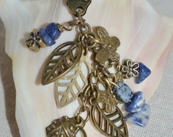 Keychain Leaves Ladybugs Butterflies Daisies, Swivel Clip with Semi Precious Stones, Butterfly Keychain, Butterfly Ladybug & Leaf Keychain