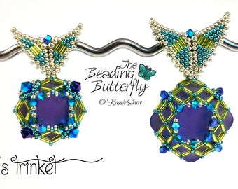 Fae's Trinket Beaded Pendant Beading Tutorial Peyote Butterfly Bail Double Diamond Right Angle Weave (DDRAW) (RAW)