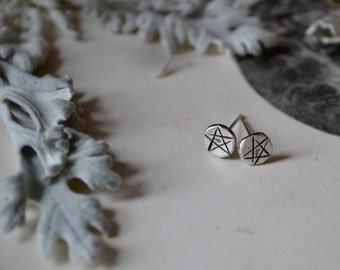 Pentacle Star Molten Silver Studs -made to order