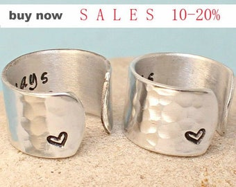 Personalized  Always Sisters Rings- Couple Rings - Adjustable aluminum Ring.. Best Gift.. Rings Set
