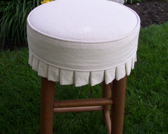 Round Bar Stool Slipcover with Knife Pleats, Canvas Barstool Cover with or without Cushion
