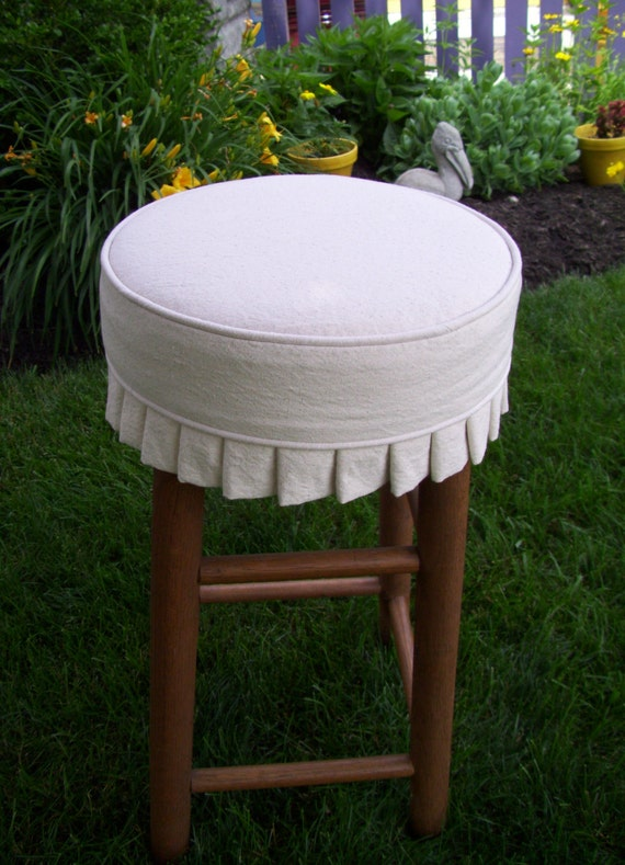 Round Bar Stool Slipcover With Cushion And Knife Pleats