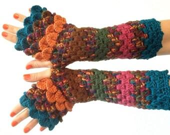 Dragon Scale Fingerless Gloves - jewel tone, teal, orange, wrist hand arm warmers women crochet game of thrones khaleesi MADE TO ORDER