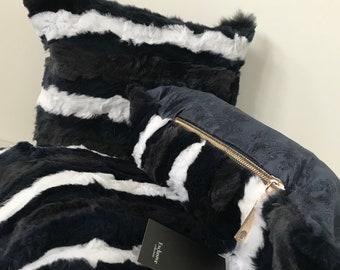 Three decorative pillow 40 * 40 cm made of natural rabbit fur
