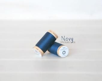 Organic Cotton Thread GOTS - 300 Yards Wooden Spool  - Thread Color Navy Blue - No. 4815 - Eco Friendly Thread - 100% Organic Cotton Thread