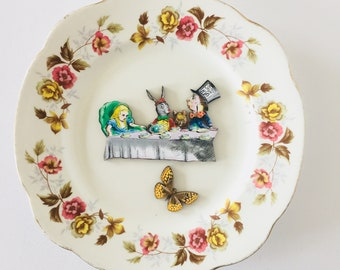 Madhatter's Teaparty Alice in Wonderland Butterfly on White Display Plate 3D Sculpture with Pink Yellow Brown Flowers for Wall Decor Gift
