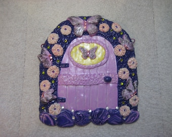 Fairy door in Purple and Pink, Polymer Clay