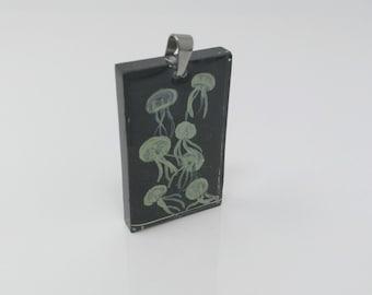 Green Jellyfish in a Black Aquarium Resin Pendant