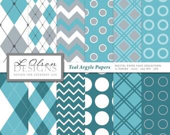 Argyle Plaid Paper Pack - Teal - 12 digital paper patterns - INSTANT DOWNLOAD