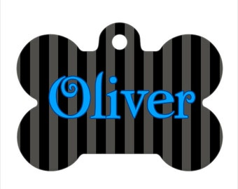 Pet ID Tag - Oliver Custom Name Striped Dog Bone Pet Tag, Dog Tag