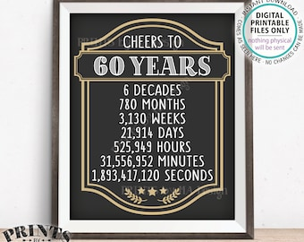 """Cheers to 60 Years, 60th Birthday Sign, 60th Anniversary, Cheers & Beers, Beer Party Sign, Retirement Party, PRINTABLE 8x10/16x20"""" Sign <ID>"""