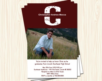 Custom High School or College Graduation Announcement Party Invitation Card   - Any Color