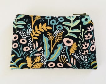 Change Purse, coin pouch, coin purse, wallet, rifle, cotton, steel, canvas, lined, floral