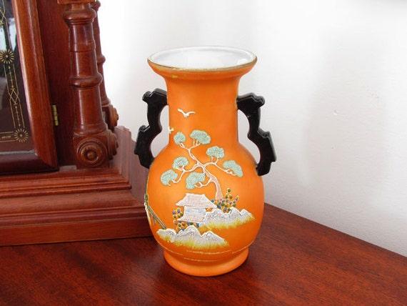 Vintage Art Deco Asian / Japan / Oriental / vase / satsuma / moriage / hand painted / porcelain / bonsai tree / pagoda / Hotta Yu Shoten