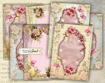 Bellissima - digital collage sheet - set of 8 - Printable Download