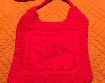 Hand Knit Heart Flag Bib and Washcloth Set