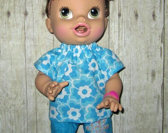 Corolle Tidoo, Corolle Calin,  Baby Alive, Doll clothes,  Blue and White Flower Top and Shorts, 12 13  Inch Doll Clothes
