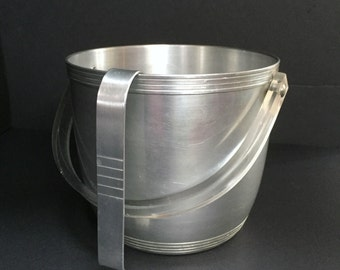 Vintage Aluminum Ice Bucket with Tongs by Kromex - Mid-Century Barware