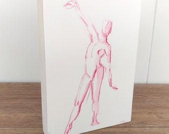 Original Dance Art, Dance Wall Decor, Dance Shelf Decor, Dance Watercolor Painting, Pink Up Down Dancer, Dance Painting, Gift for Dancer