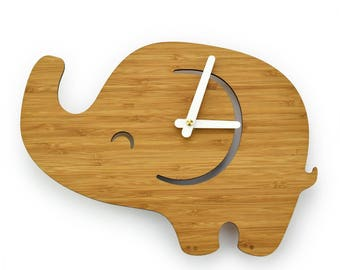 ELEPHANT- Bamboo Wall Clock - Clock for Kids - Children's Room Decor - Baby Shower Gift - Nursery Decor - Simple Wall Clock - Wall Decor