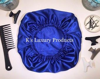Royal Blue Satin Bonnet