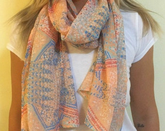 Cotton Feel Scarf with Pastel Pattern