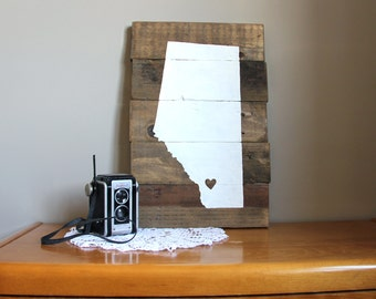 Ready to Ship // Heart in Calgary White Reclaimed Pallet Wood Sign