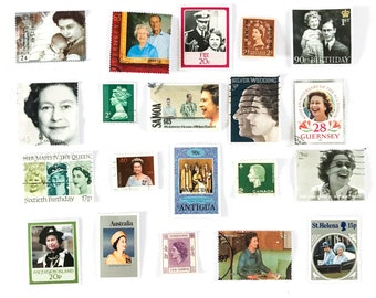Queen Elizabeth II - Her Majesty - used postage stamps - a selection of 20, all different, from 11 countries, off paper