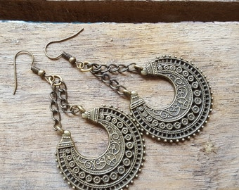 Long bohemian  earrings , Tribal earrings, gypsy earring, Ethnic Tribal Gypsy Hoop Earrings, Gift for her