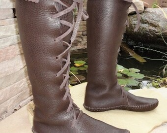Elf Boots Handmade lace up  knee high Moccasins Dark brown Leather w/Leather soles Mens and Womens sizes many colors custom orders