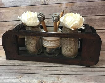 table centerpiece, antique sewing machine drawer frame, repurposed antique, sewing spools, reclaimed wood