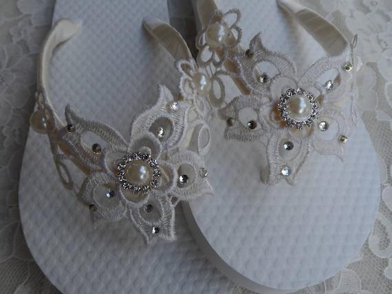 Ivory Sandals Party Girls Wedding Flops Lace Venice Flower Flip Flip Bridal Flops Flower Girls vOB7AIrOq