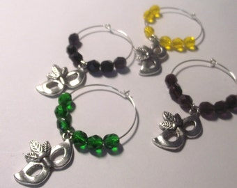 Mardi Gras Wine Charms Set of 4