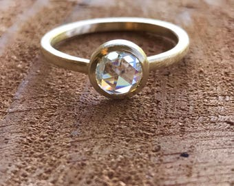 Rose Cut Moissanite Ring, Engagement ring, Solitaire Ring, Yellow Gold, Alternative Engagement