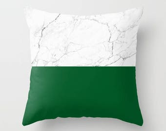 White Marble Pillow Emerald Green Colorblock marble pattern Pillow modern minimal decorative throw pillows home decor gifts for her under 40