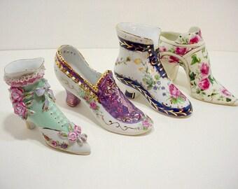 3 Victorian Porcelain China Shoes, Limoges France, Victorian Boots, Porcelain Shoes Collection