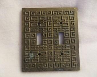 Vintage Edmar Solid Heavy Brass Light Switch Plate Greek Key Tribal Design