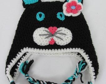 Cat hat, cat beanie, winter animal hat, crochet animal hat, Crochet hat