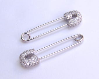 925 Sterling Silver-White gold Plated safety pin earrings.