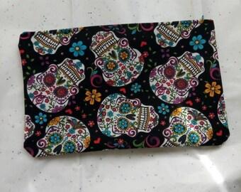 sugar skulls floral large make up bag day of the dead dia de los muertos mexican skulls mexico