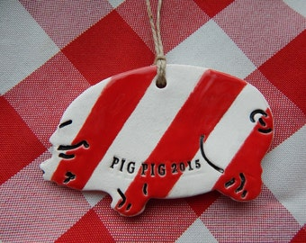 Personalized Pig Christmas Ornament, Candy Striped Ceramic Ornament