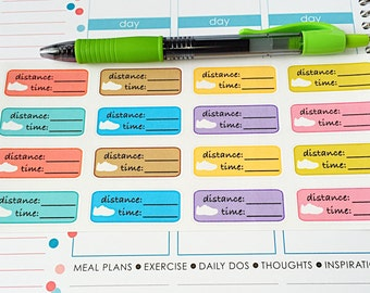 16 Running Tracker Planner Stickers- Running Distance and Time Stickers- perfect in your Erin Condren planner, wall calendar or scrapbook