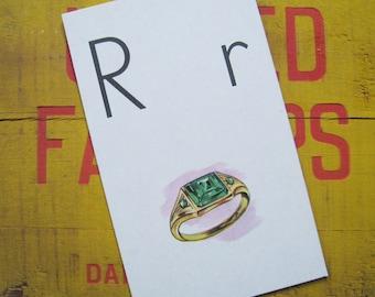 Vintage Large Flash Card - R is for Ring - Great Illustration - 1958