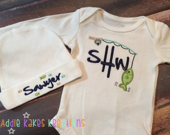 Fishing Baby Set - Fishing Pole - Baby Boy Fishing Clothes - Personalized - Bodysuit - Coming Home Outfit - Daddy's Fishing Buddy - Monogram